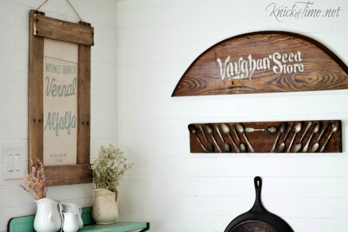 turn an old seed bag into farmhouse decor with a DIY pallet wood frame - www.knickoftime.net