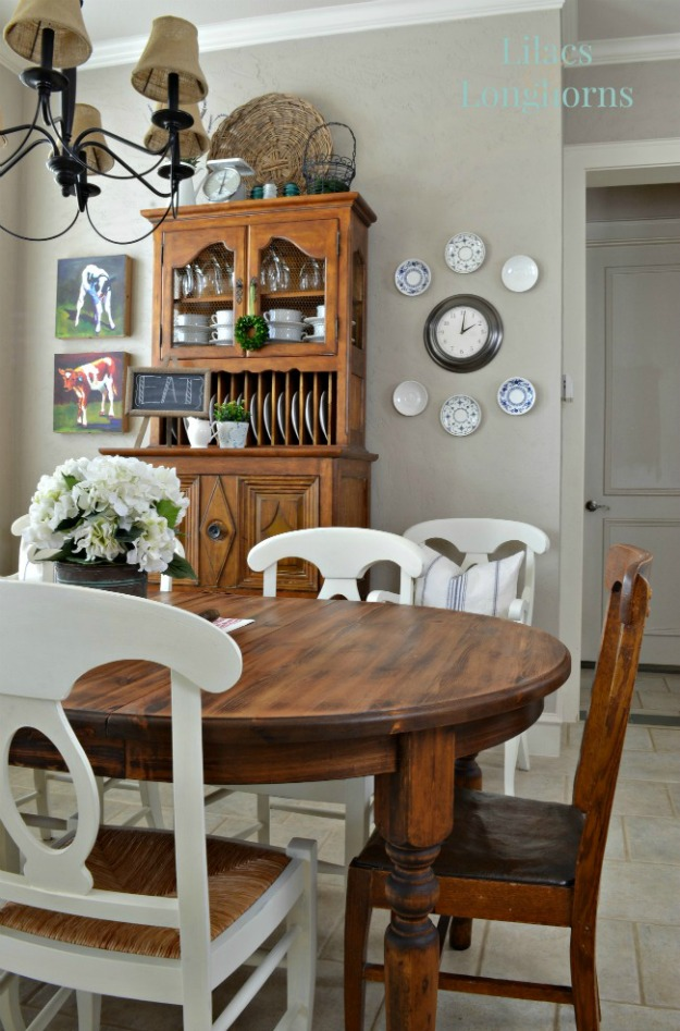 Vintage refinished farmhouse table featured at KnickofTime net