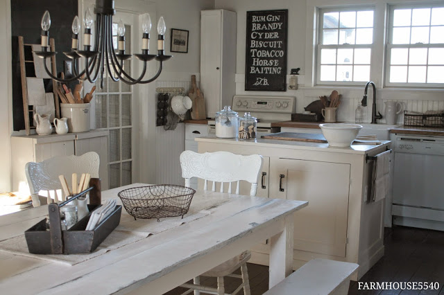 Luxury farmhouse kitchen table with chairs and benches featured at KnickofTime net