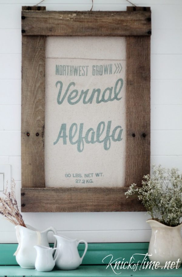framed antique grain sack