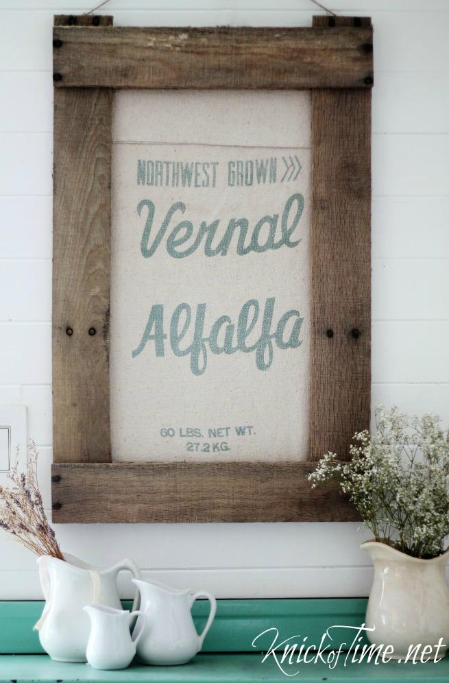 framed antique grain sack