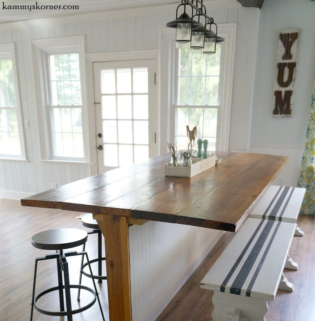 barn wood farmhouse table and kitchen counter - featured at KnickofTime.net