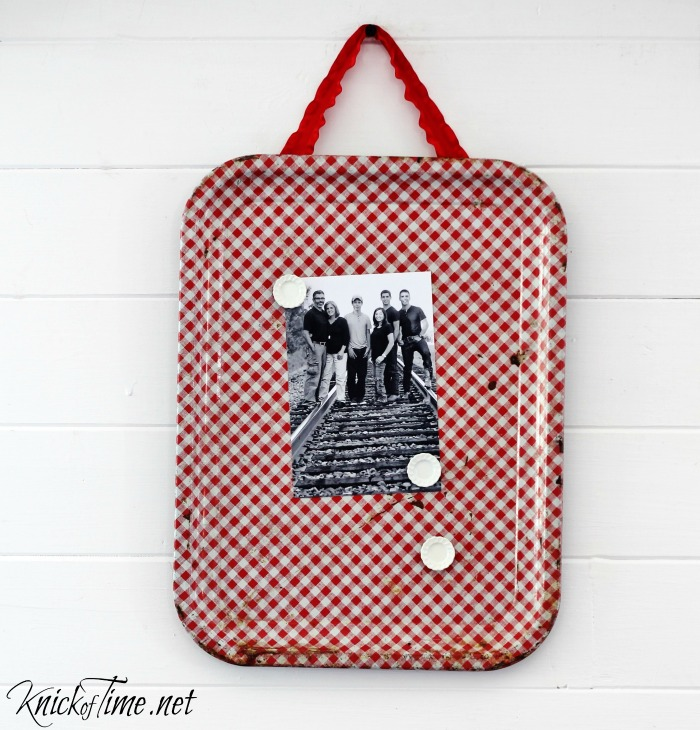red gingham magnet board