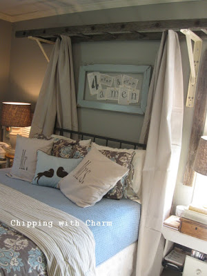 repurposed ladder canopy bed