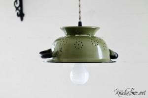 Enamelware Colander Hanging Light