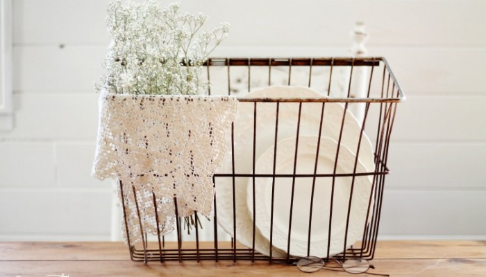 a 2 year old and a wire basket