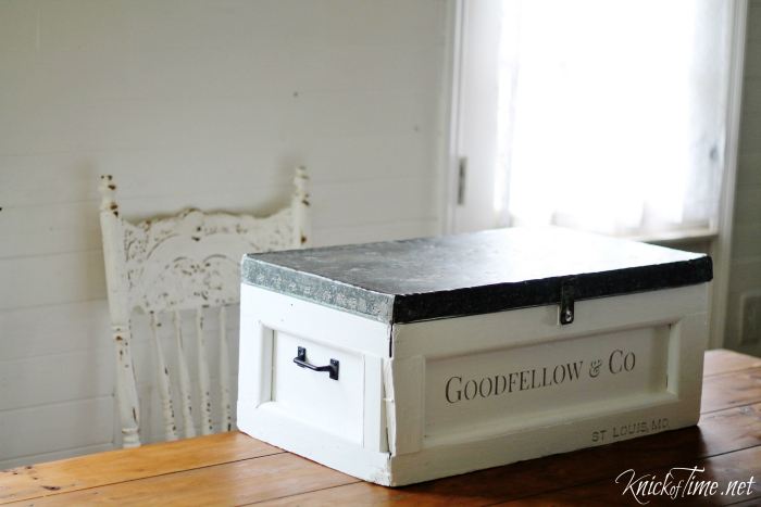 An antique trunk gets a makeover with Vintage Sign Stencils and now is great storage for my Silhouette Cameo and stenciling  supplies! - KnickofTime.net