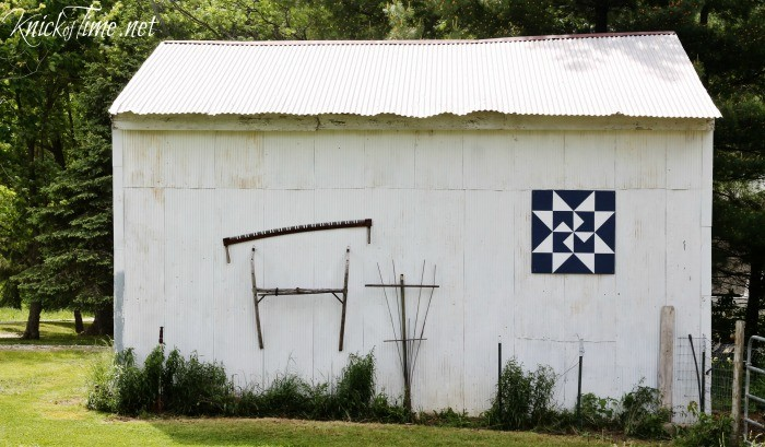 DIY barn quilt sign mounted on old barn - KnickofTime.net