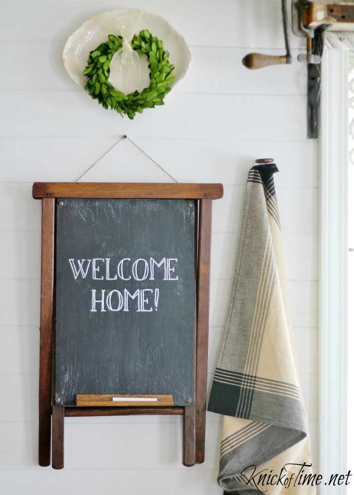 repurposed stool chalkboard