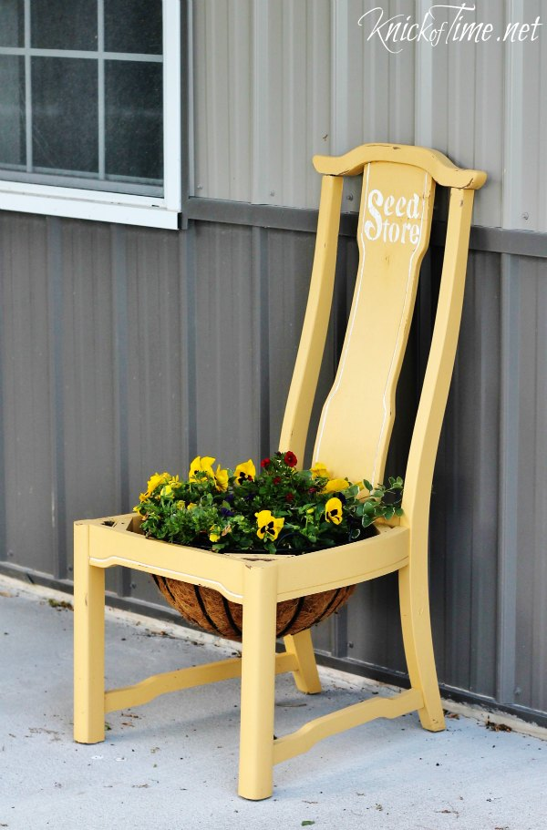 repurposed garden chair flower planter