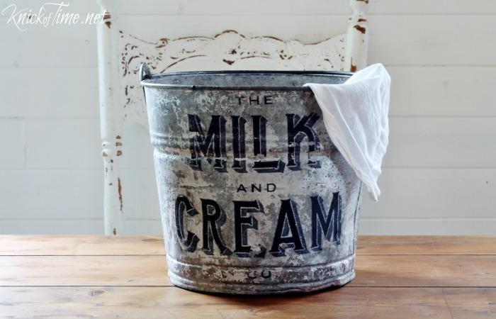farmhouse decor galvanized bucket
