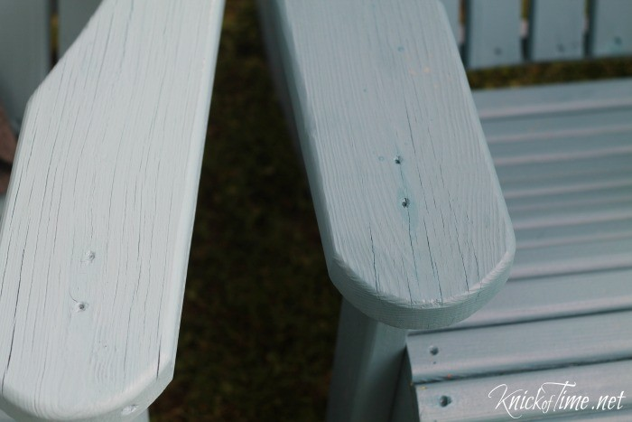 shades of blue paint on adirondack chairs