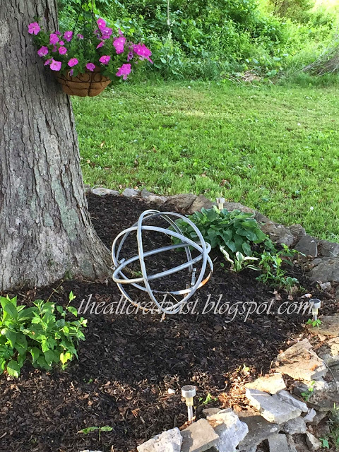 garden decor metal orb