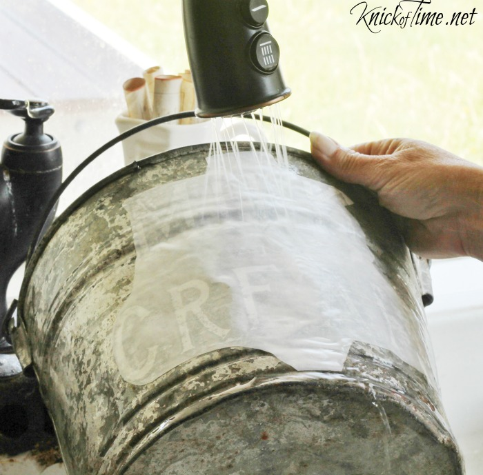 image transfer on galvanized bucket