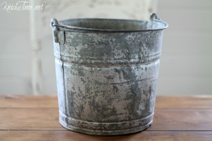 Galvanized bucket makeover knick of time for Old metal buckets