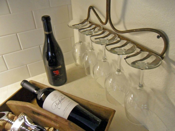 repurposed tools rake wine glass holder