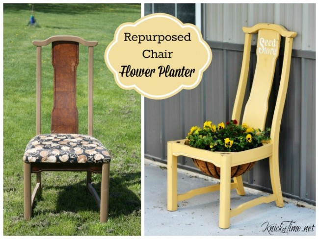Repurposed chair flower planter | www.knickoftime.net