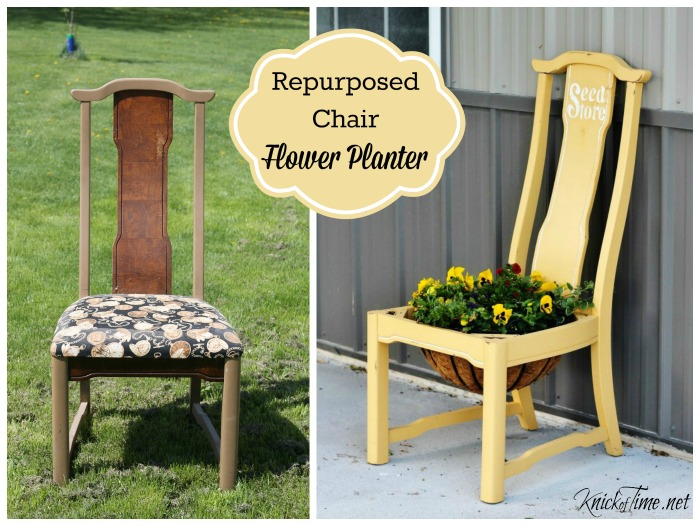 repurposed chair porch planter