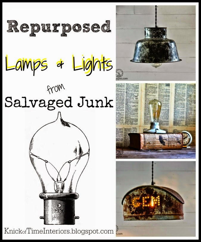 repurposed salvage lights and lamps via KnickofTime.net