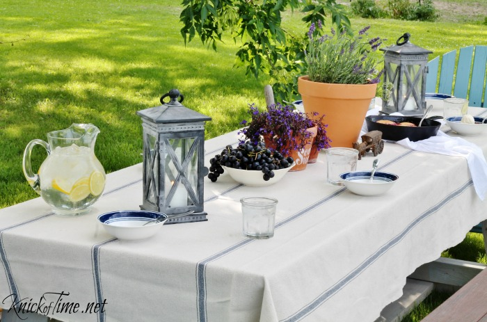 blue stripe grainsack fabric table cloth for outdoor dining - summer welcome home tour - KnickofTime.net