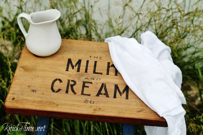 farmhouse stool stenciled with Milk and Cream Co. Vintage Sign Stencil | www.knickoftime.net