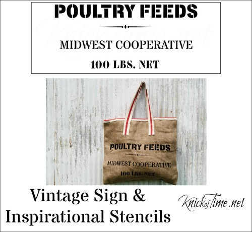 burlap sack feed bag stencil