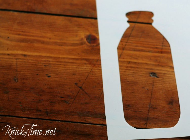 vintage milk bottle shape stencil