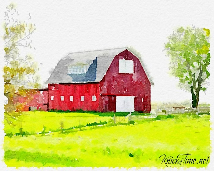 old red barn watercolor