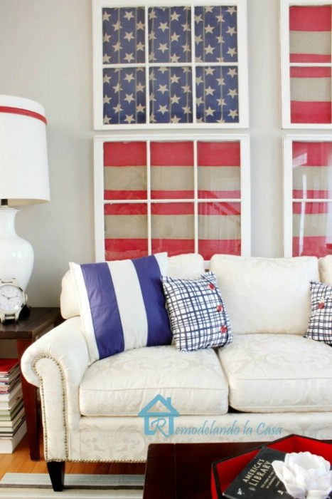 repurposed window patriotic living room