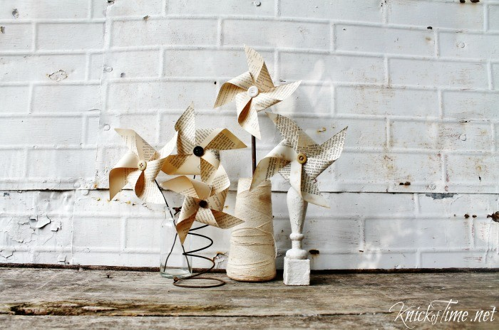 repurposed book pages pinwheels