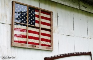 Antique Window Framed Flag Display