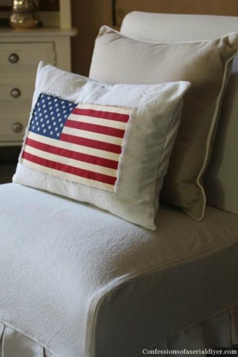 drop cloth patriotic pillow