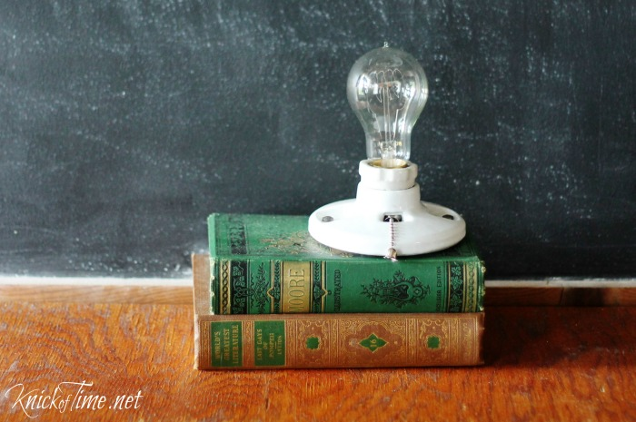 upcycled book lamp via KnickofTime.net