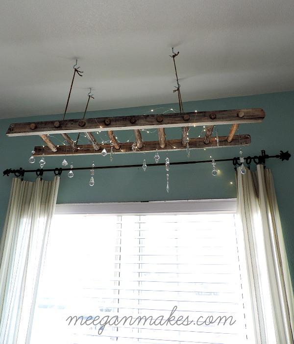 wooden ladder lights via Knick of Time