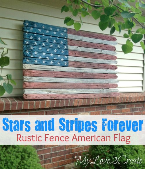 repurposed fence pickets flag
