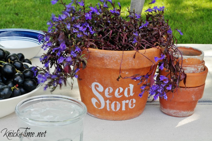 stenciled flower pot