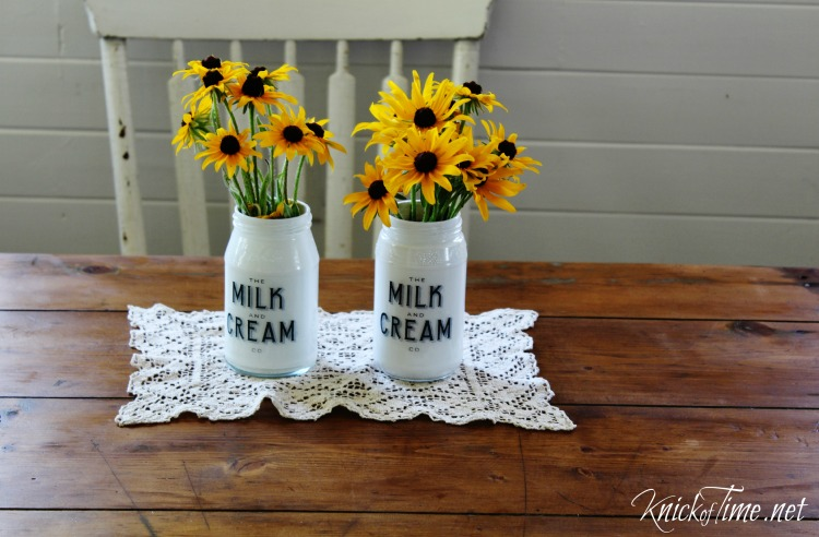 repurpsosed jars flower vases
