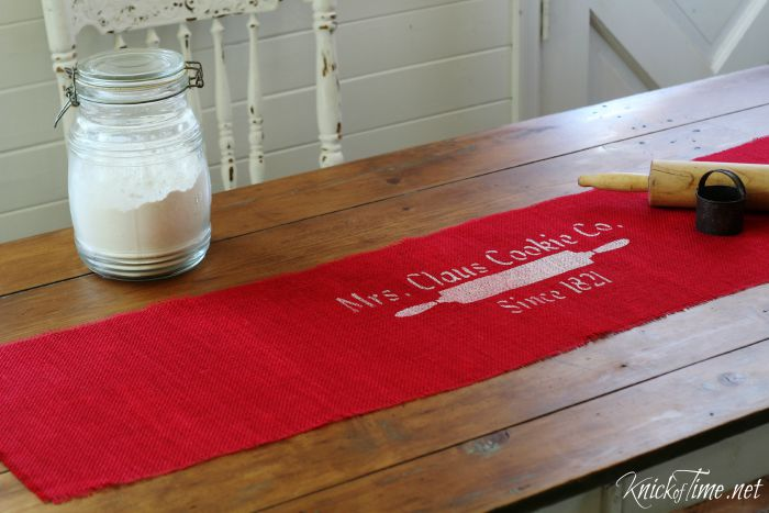 red burlap Christmas table runner