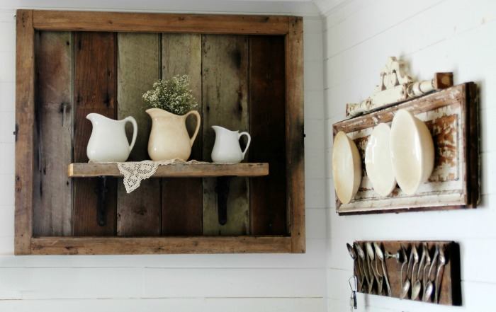 Rustic Salvaged Wood Shelf Display by Knick of Time knickoftime.net