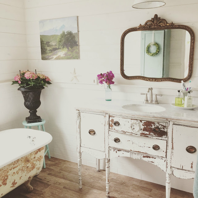 Vintage inspiration party 196 french country decor for Bathroom vanity decor pinterest