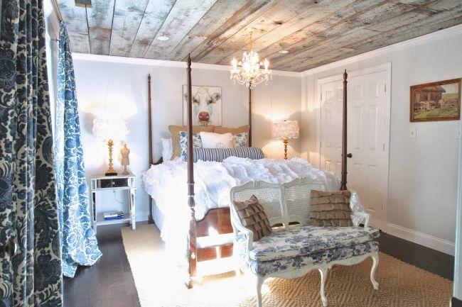 salvaged barn wood ceiling