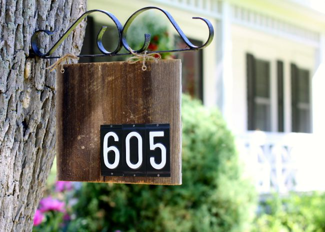 barn wood house number
