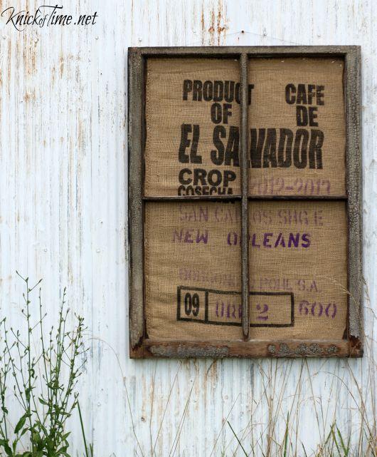framed burlap coffee sack