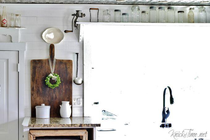 farmhouse kitchen window shelves
