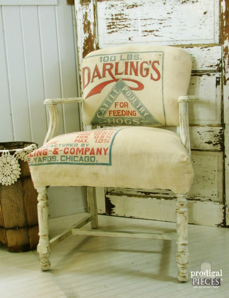 Feed Sack Chair Farmhouse Decor - KnickofTime.net