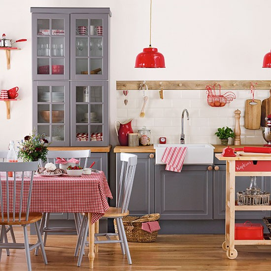 gray and red kitchen