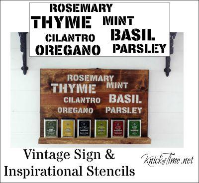 garden herbs sign stencil