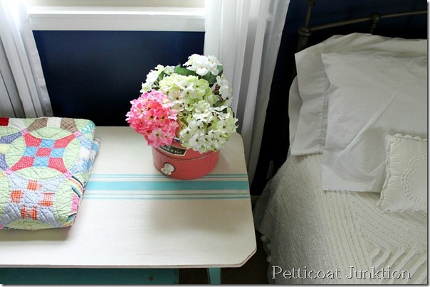 painted side table stripes