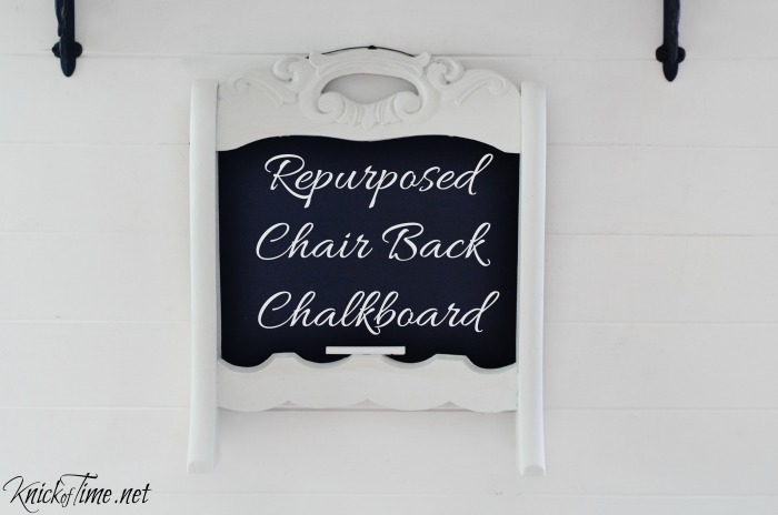 repurposed chair back chalkboard