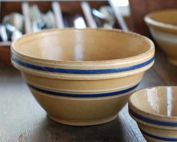blue stripe yellow ware bowl
